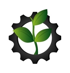 Gear and leaf icon vector