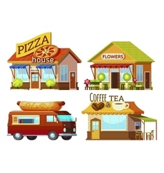 Cartoon storefronts set vector