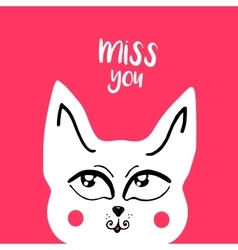 Card banner lettering letters i miss you vector