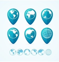 Globe icon set tags vector