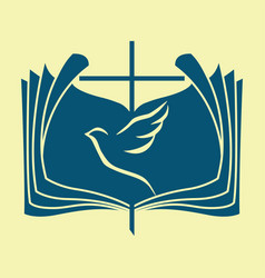 The bible the dove and the cross vector