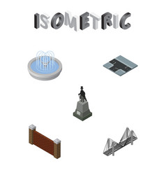 isometric architecture set of bridge sculpture vector image