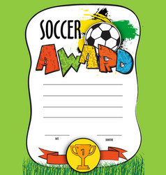 Template certificate soccer championship vector