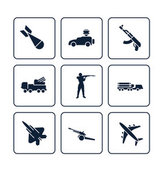 Terror or army icons set - military icons design vector