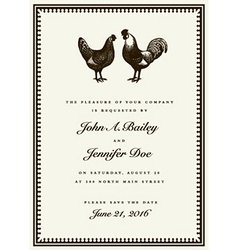Rooster and hen wedding invite vector image