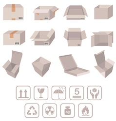 Cardboard boxes with signs vector