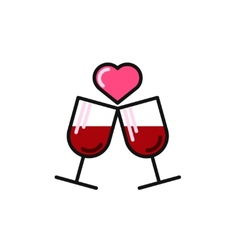 Love card with two wine glasses vector