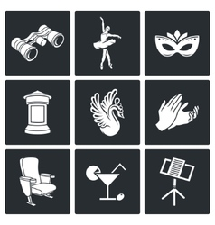 Art theater ballet opera icons set vector