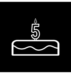 Cake with candles in the form of number 5 icon vector