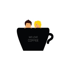 Love coffee with couple color vector