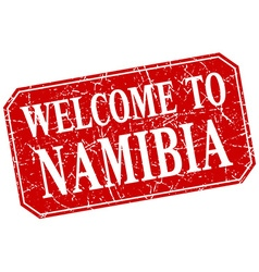 Welcome to namibia red square grunge stamp vector