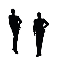 Businessman boy silhouette in standing pose vector