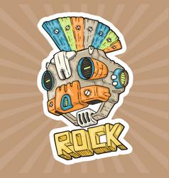cartoon punk-rock music robot vector image