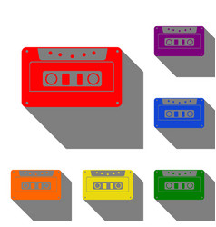 Cassette icon audio tape sign set of red orange vector