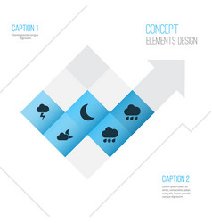 Climate icons set collection of lightning rainy vector