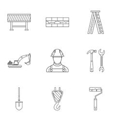 Construction tools icons set outline style vector image vector image