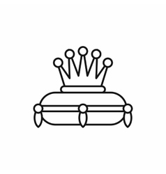Crown on a pillow icon outline style vector image
