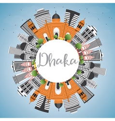 Dhaka Skyline with Gray Buildings vector image