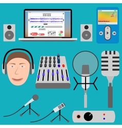 Equipment for podcasting and laptop player vector