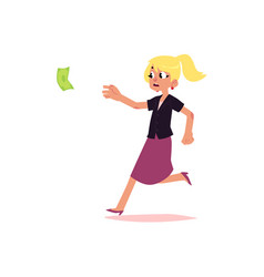 Flat office worker woman running for money vector