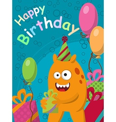 Funny yellow monster with gifts and balloons vector image