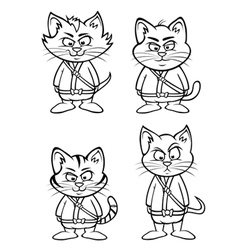 Kitten ninjas lineup outline vector