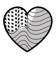 line nice heart with usa flag inside vector image