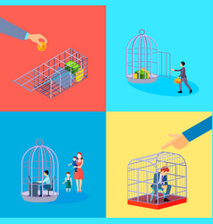 Office cage concept set vector