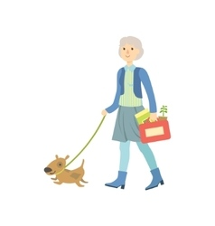 Old lady walking a dog vector