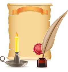 old paper and candlestick vector image vector image
