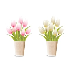 Paper vase with pink tulips vector image vector image