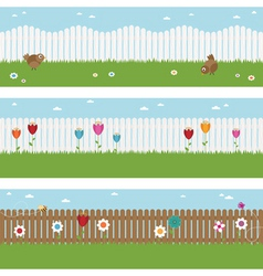 Picket fence banners vector