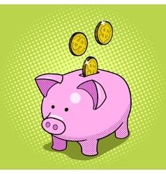 Piggy bank hand drawn pop art style vector image