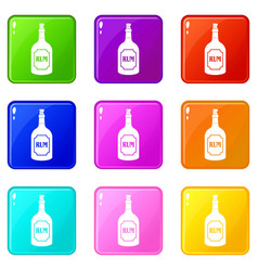 Rum icons 9 set vector