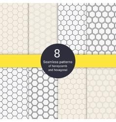Set of 8 hexagonal honeycomb line style seamless vector image vector image