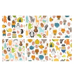 Set of animals backgrounds vector image