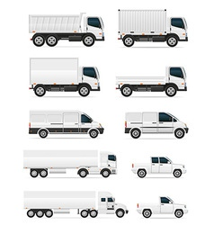 set of icons cars and truck for transportation of vector image