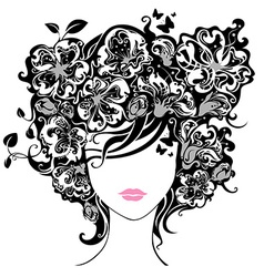 Woman with flowers in hair vector image vector image