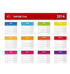 Calendar 2014 turkey type 10 vector