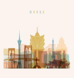 Macau skyline detailed silhouette vector