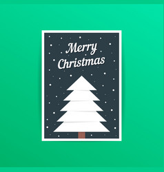 Merry christmas card with white xmas tree vector