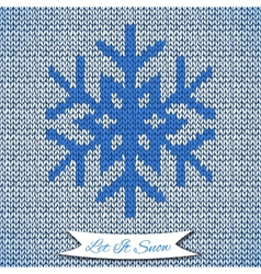 Seamless pattern with knitted snowflake vector
