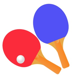 Table tennis rackets and ball on a white vector