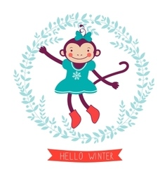 Hello winter concept card with monkey - symbol of vector