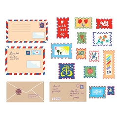 Letters and post stamps funny set vector