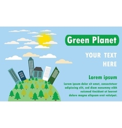 Green planet with the city trees vector