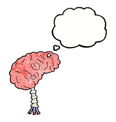 Cartoon brain with thought bubble vector