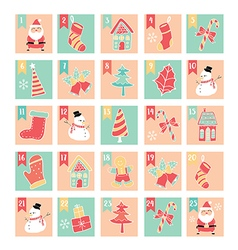 Merry christmas 25 days windows pastel vector