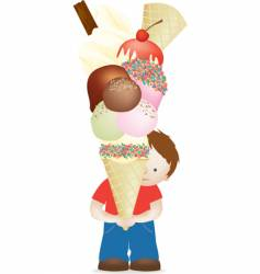 boy and huge ice cream vector image