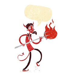 Cartoon devil with pitchfork with speech bubble vector